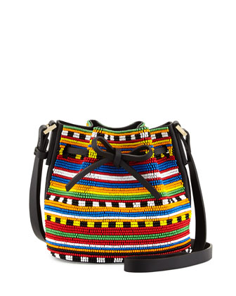 Daliah Mini Beaded Bucket Bag