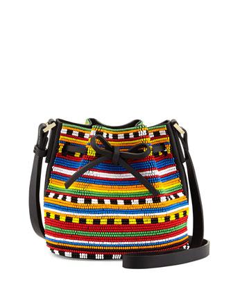 Daliah Mini Beaded Bucket Bag