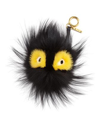 Fur Ball Monster Charm for Handbag, Black/Yellow