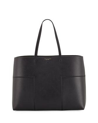 Block-T Leather Tote Bag, Black