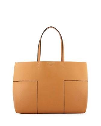 Block-T Leather Tote Bag, Vachetta