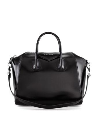 Antigona Medium Shiny Leather Satchel Bag, Black