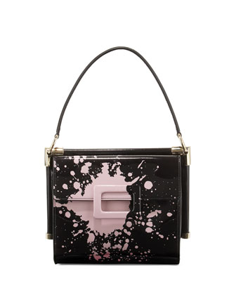 Miss Viv Carre Small Splatter-Print Shoulder Bag, Black/Pink