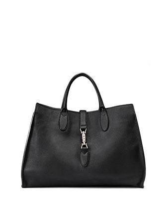 Jackie Soft Medium Tote Bag, Black