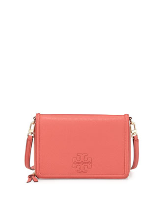 Thea Leather Wallet Crossbody Bag, Spice Coral