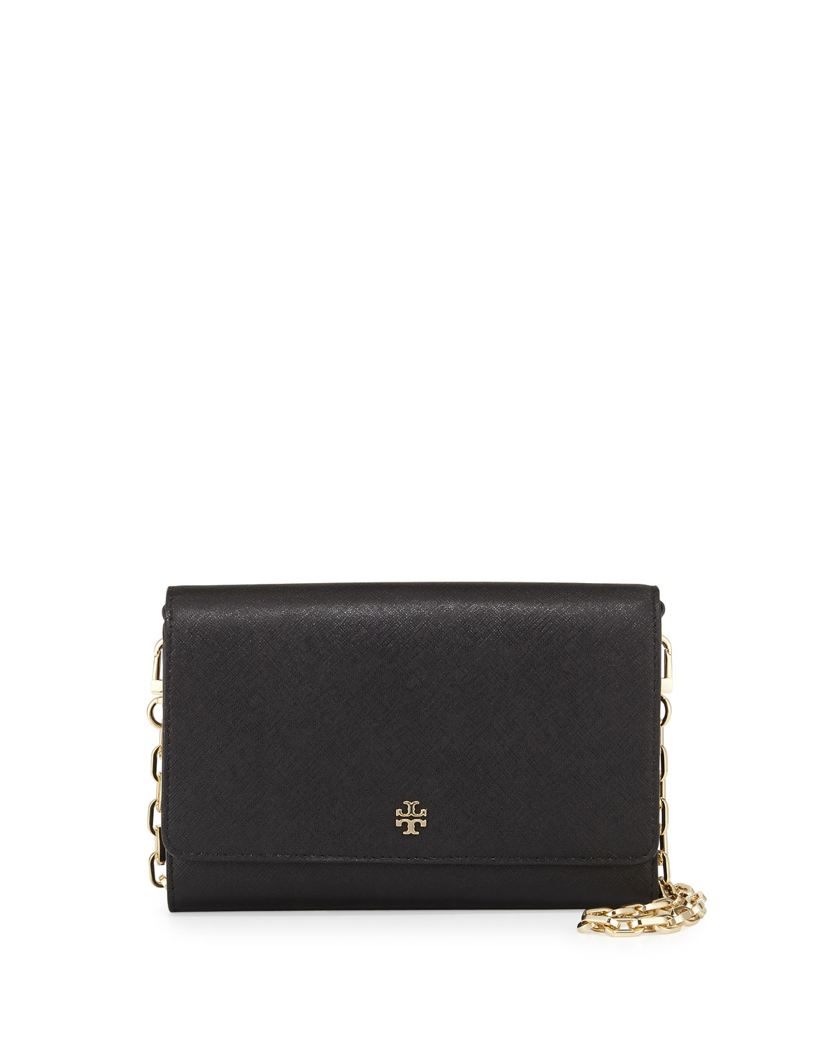 Tory Burch Robinson Saffiano Wallet-On-Chain, Black