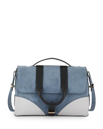 Hanne Suede & Leather Messenger Bag, Dark Plexi