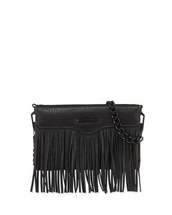 Universal Fringe Leather Crossbody Bag, Black