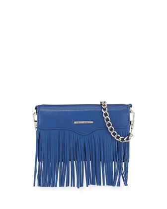 Universal Fringe Crossbody Bag/Wallet for Smart Phone, Cobalt
