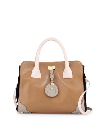 Jourdan Petite Leather Tote Bag, Birch