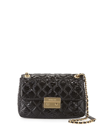Sloan Large Chain Quilted Shoulder Bag, Black