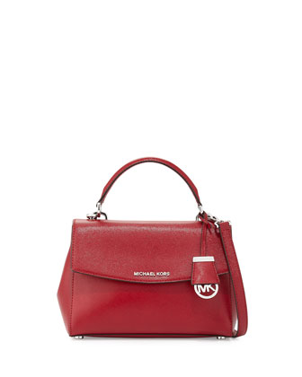 Ava Small Leather Satchel Bag, Cherry