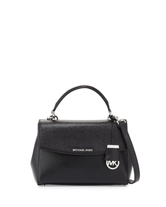 Ava Small Leather Satchel Bag, Black