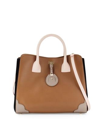 Jourdan Petite Leather Tote Bag, Birch