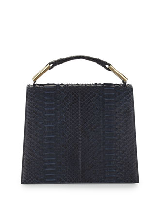 Charlotte Origami Python & Leather Handbag, Navy