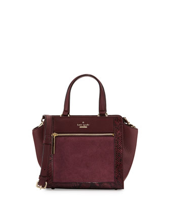 chatham lane small hayden satchel bag, mulled wine
