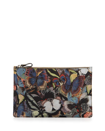 Camouflage Butterfly-Print Flat Pouch, Multicolor