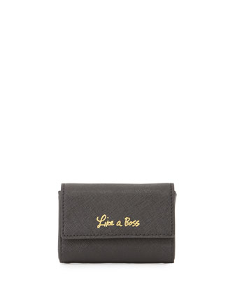 Like a Boss Card Saffiano Holder, Black