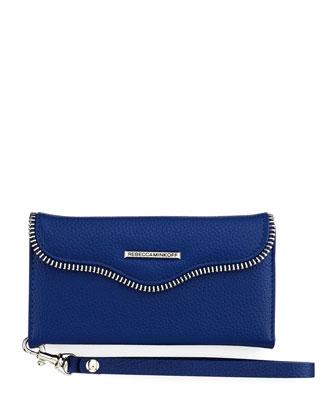 Leather Folio Wristlet Wallet for Smartphone, Cobalt