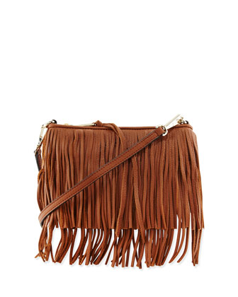 Finn Leather Fringe Crossbody Bag, Almond