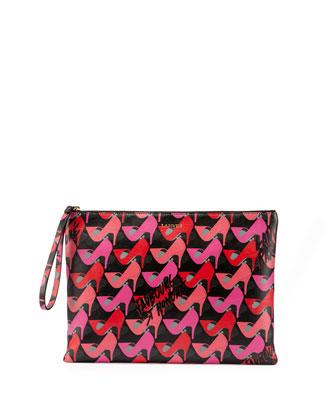 Shoe-Print Leather Wristlet Pouch, Pink
