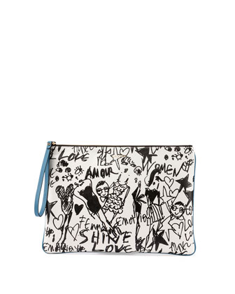 Silhouette-Print Leather Zip Pouch, White/Black