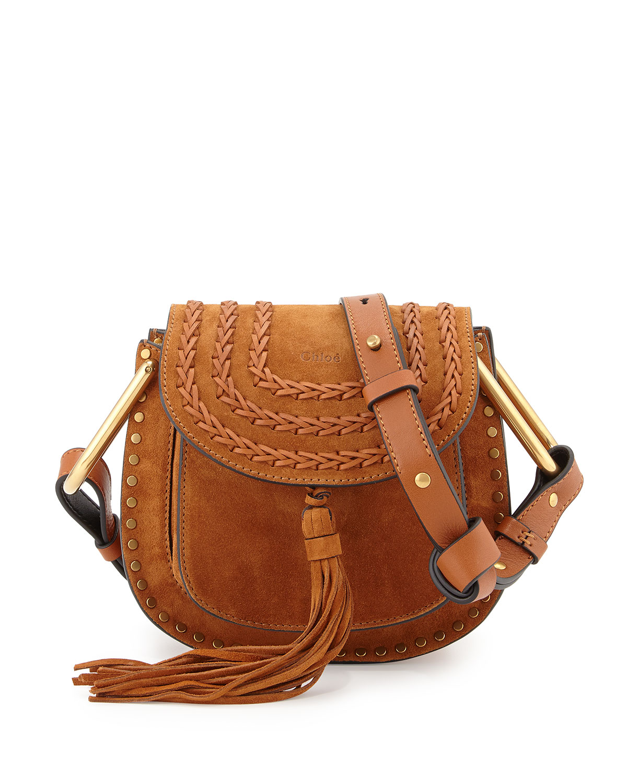 Hudson Mini Suede Shoulder Bag, Caramel - Chloe