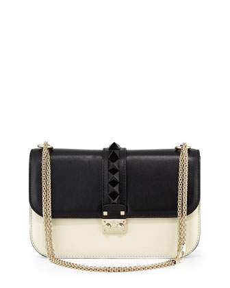 Lock Leather Medium Shoulder Bag, Black/Ivory