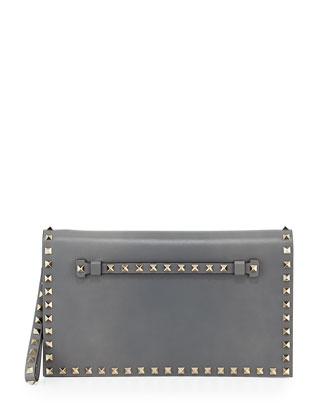 Rockstud Full-Flap Wristlet Clutch Bag, Light Gray