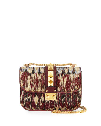 Rockstud Embroidered Flap Small Leather Shoulder Bag, Red/Multi