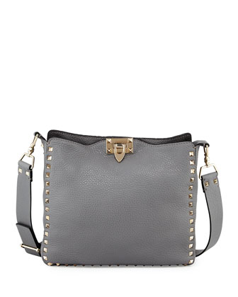 Rockstud Small Hobo Crossbody Bag, Light Gray