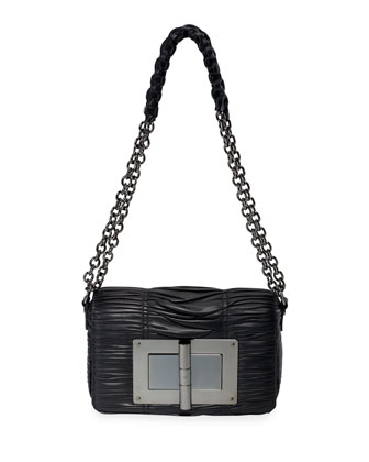 Natalia Medium Pleated Shoulder Bag, Black
