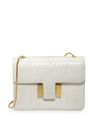 Sienna Medium Python T-Buckle Shoulder Bag, White