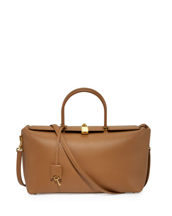 India Medium Leather Satchel Bag, Taupe