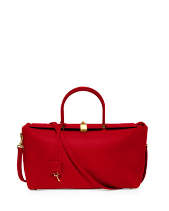 India Medium Leather Satchel Bag, Red