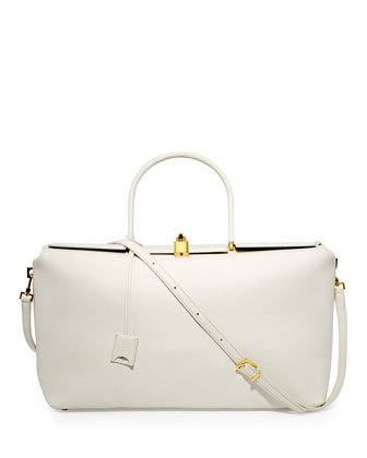 India Large Leather Satchel Bag, White