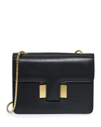 Sienna Medium T-Buckle Shoulder Bag, Black
