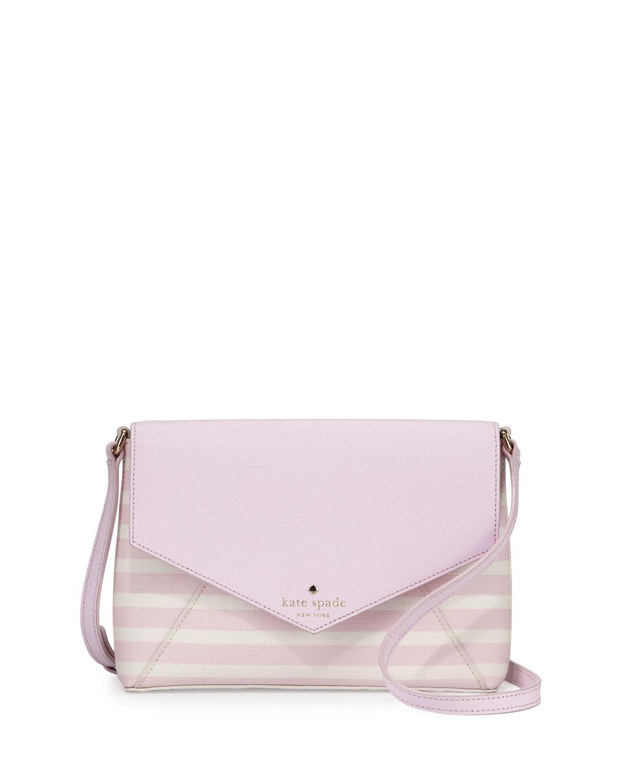 fairmount square monday large striped crossbody bag, pink blush/sandy beach, Size: L, Pink Blush Cream - kate spade new york