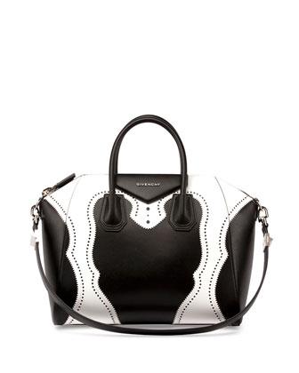 Antigona Brogue Satchel Bag, Black/White