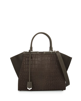 3 Jours Croc-Embossed Calf Hair Satchel Bag, Coal Gray