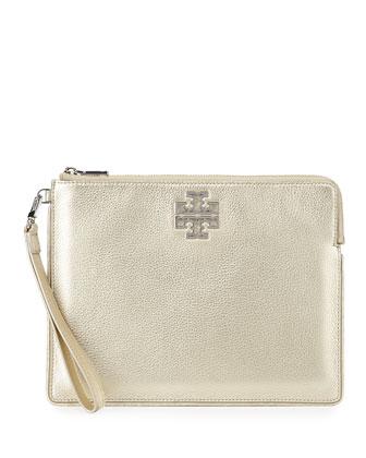 Britten Large Zip Pouch bag, Light Gold