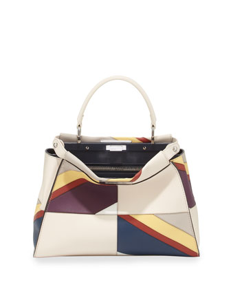 Peekaboo Medium Satchel Bag, White Multi