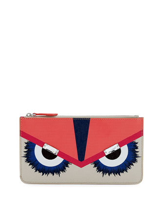 Leather Monster Zip Pouch, Multicolor