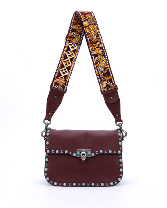 Rockstud Studded Messenger Bag, Bordeaux