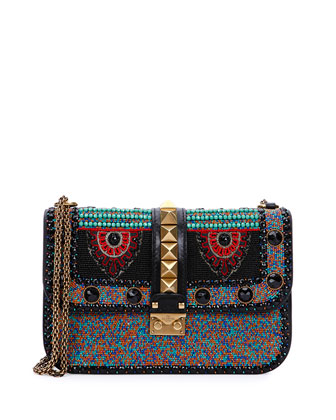 Medium Beaded African Lock Shoulder Bag, Black