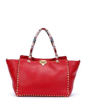 Medium Beaded-Handle Rockstud Tote Bag, Red