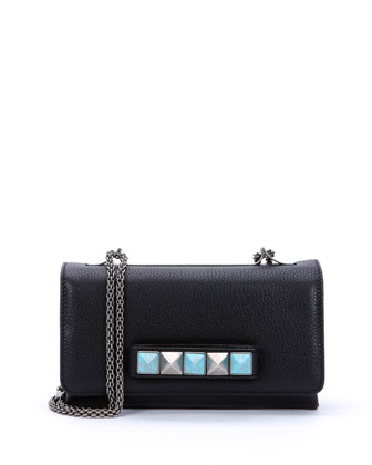 Va Va Voom Rolling Rockstud Shoulder Bag, Black