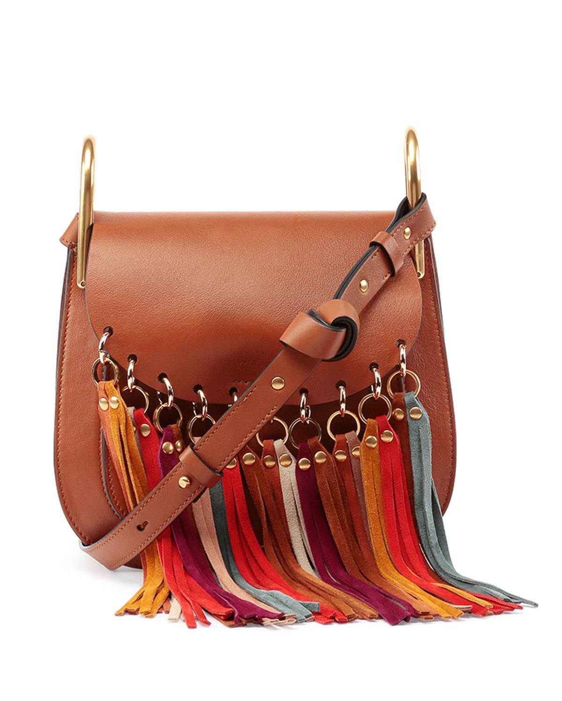 Hudson Fringe-Trim Leather Shoulder Bag, Caramel - Chloe