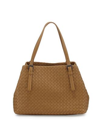 Intrecciato Medium A-Shaped Tote Bag, Camel