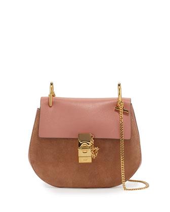 Drew Leather & Suede Shoulder Bag, Rose